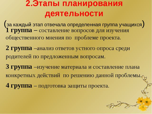 2.Этапы планирования деятельности (за каждый этап отвечала определенная груп...
