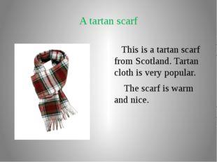A tartan scarf This is a tartan scarf from Scotland. Tartan cloth is very pop