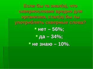 нет – 56%; да – 34%; не знаю – 10%. Если бы та знал(а), что сквернословие вре