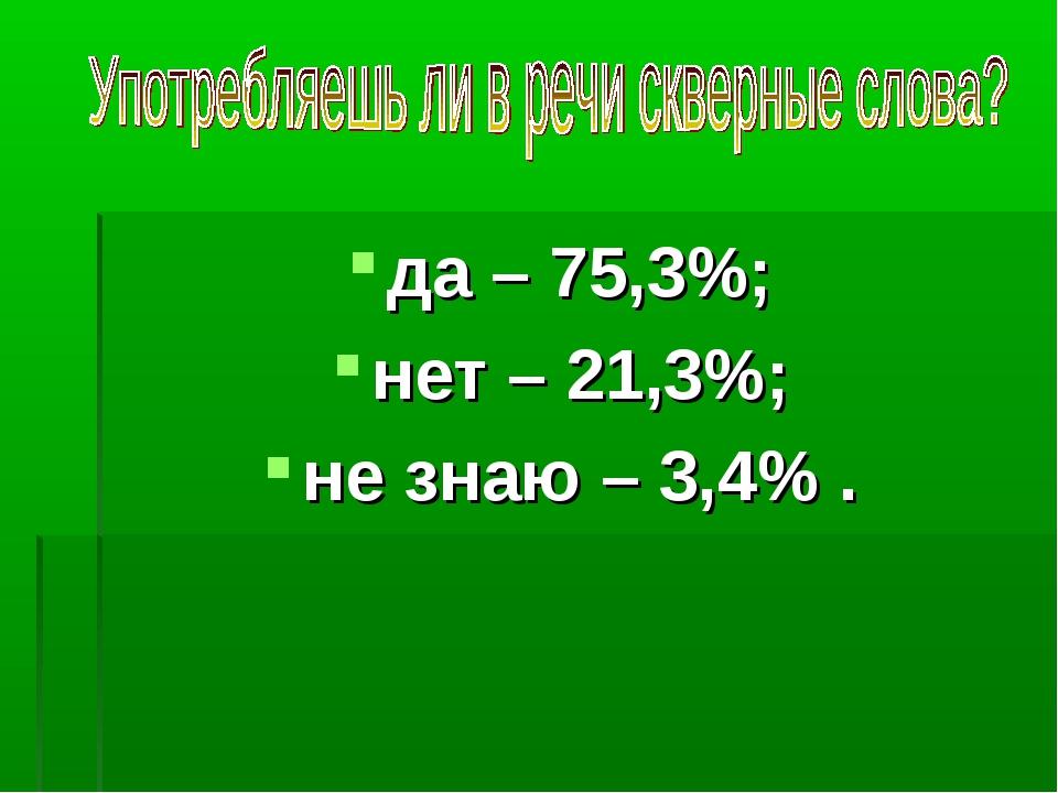 да – 75,3%; нет – 21,3%; не знаю – 3,4% .