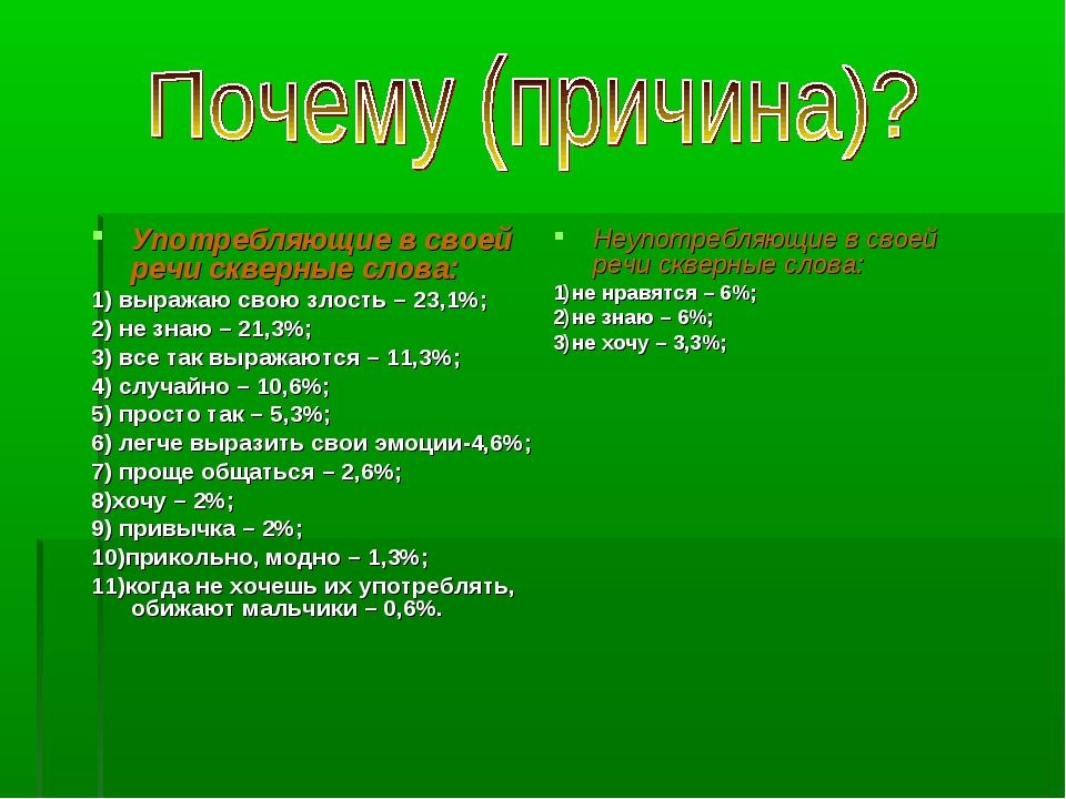Употребляющие в своей речи скверные слова: 1) выражаю свою злость – 23,1%; 2)...