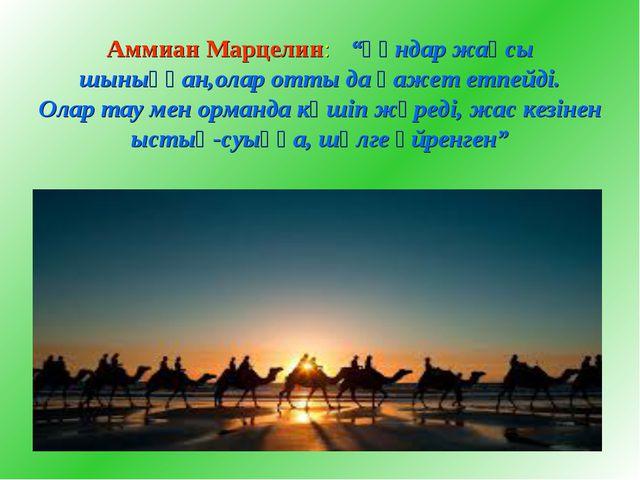 """Аммиан Марцелин: """"Ғұндар жақсы шыныққан,олар отты да қажет етпейді. Олар тау..."""