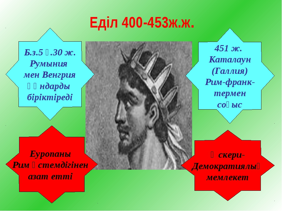 Еділ 400-453ж.ж. Б.з.5 ғ.30 ж. Румыния мен Венгрия Ғұндарды біріктіреді Еуроп...