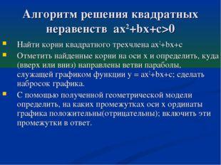 Алгоритм решения квадратных неравенств ax2+bx+c>0 Найти корни квадратного тре
