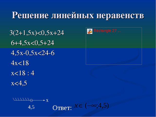 Решение линейных неравенств 3(2+1,5x)