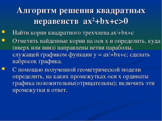 Алгоритм решения квадратных неравенств ax2+bx+c>0 Найти корни квадратного тре...