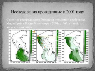 Исследования проведенные в 2001 году Сезонное распределение биомассы популяци