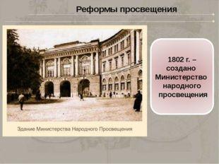 1804г. - Россия разделена нашесть учебных округов. Центрами округов стали у