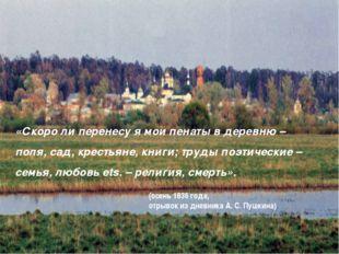 «Скоро ли перенесу я мои пенаты в деревню – поля, сад, крестьяне, книги; труд