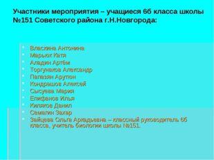 Участники мероприятия – учащиеся 6б класса школы №151 Советского района г.Н.Н