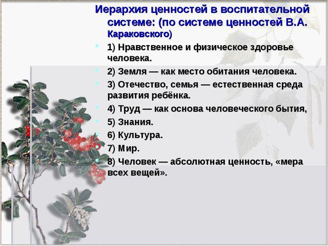 Иерархия ценностей в воспитательной системе: (по системе ценностей В.А. Карак...