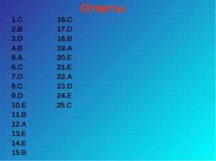 Ответы 1.С 16.С 2.В 17.D 3.D 18.В 4.В 19.А 5.А 20.Е 6.С 21.Е 7.D 22.А 8.С 23.