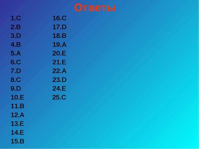 Ответы 1.С 16.С 2.В 17.D 3.D 18.В 4.В 19.А 5.А 20.Е 6.С 21.Е 7.D 22.А 8.С 23....
