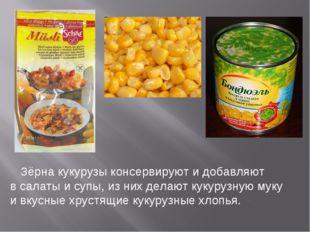 Зёрна кукурузы консервируют и добавляют в салаты и супы, из них делают кукур