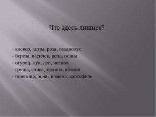 Что здесь лишнее? - клевер, астра, роза, гладиолус - береза, василек, репа, о
