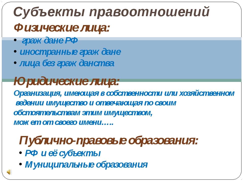 Субъекты правоотношений Физические лица: граждане РФ иностранные граждане лиц...