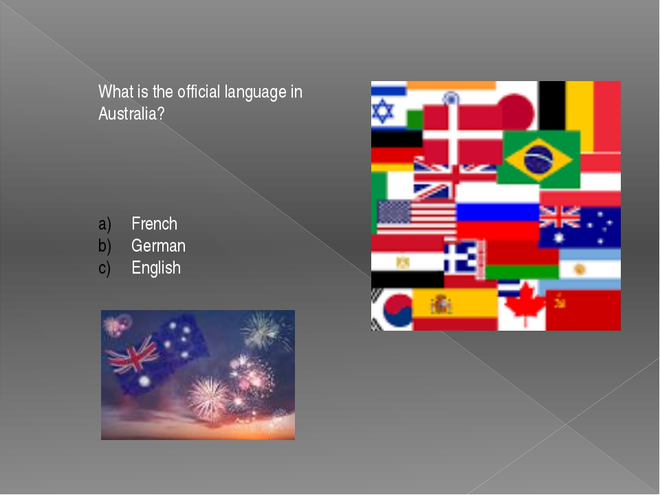 What is the official language in Australia? French German English
