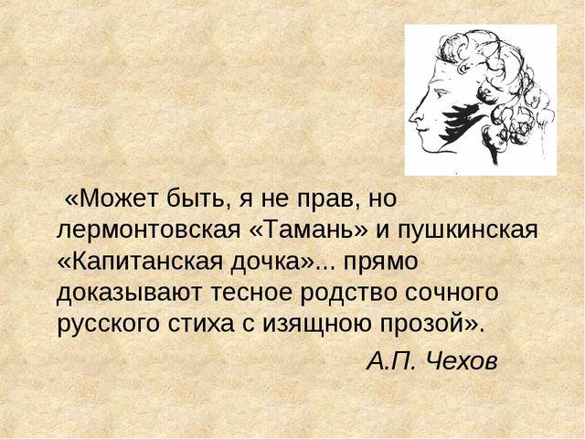 «Может быть, я не прав, но лермонтовская «Тамань» и пушкинская «Капитанская...