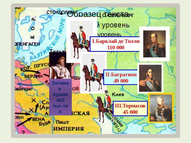 Великая Армия 600 тыс.чел. III.Тормасов 45 000