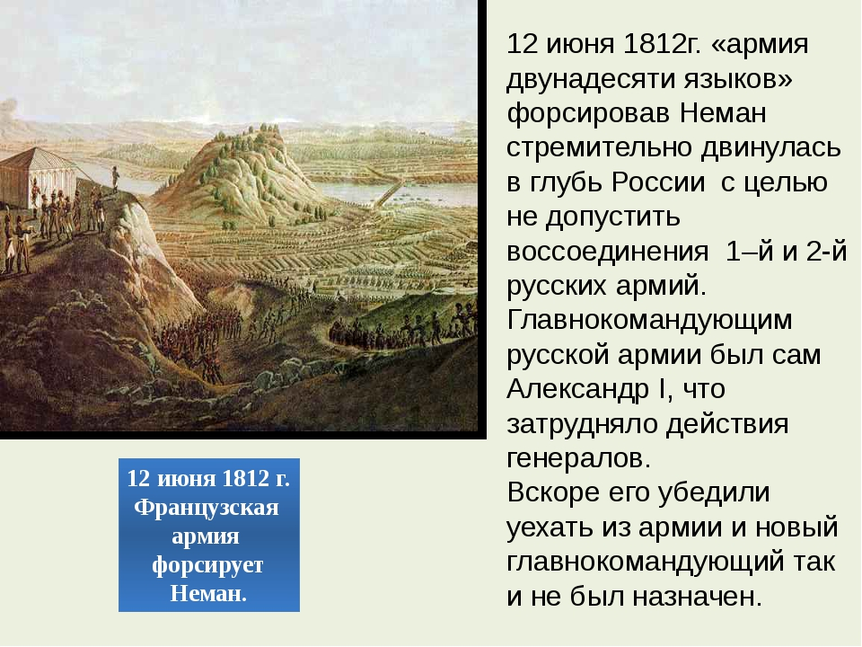 12 июня 1812 г. Французская армия форсирует Неман. 12 июня 1812г. «армия двун...