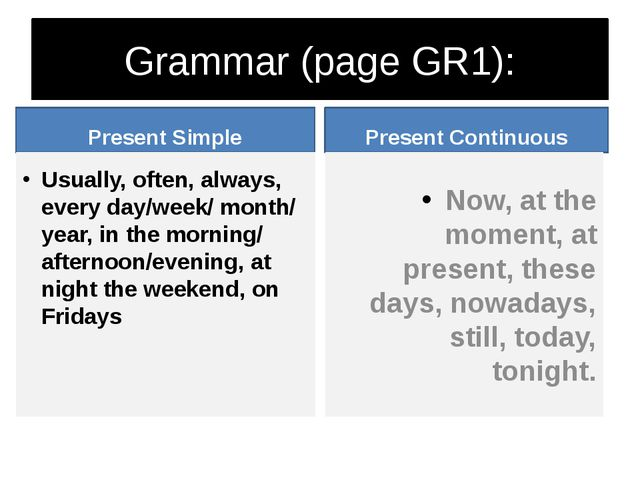 Grammar (page GR1): Present Simple Usually, often, always, every day/week/ mo...