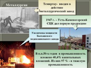 Металлургия Темиртау- введен в действие металлургический завод 1947 г. – Усть