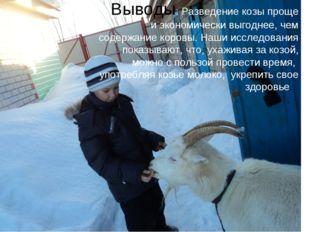 Выводы: Разведение козы проще и экономически выгоднее, чем содержание коровы.