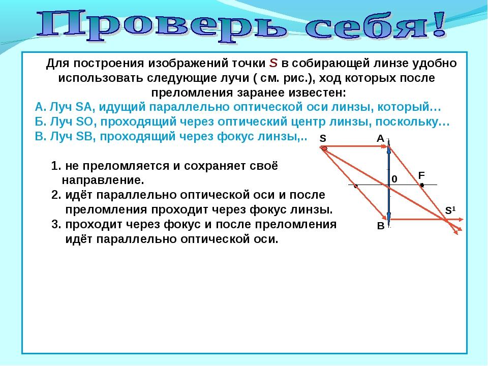 S1 Для построения изображений точки S в собирающей линзе удобно использовать...