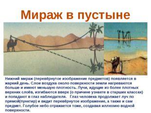 Мираж в пустыне Нижний мираж (перевёрнутое изображение предметов) появляется