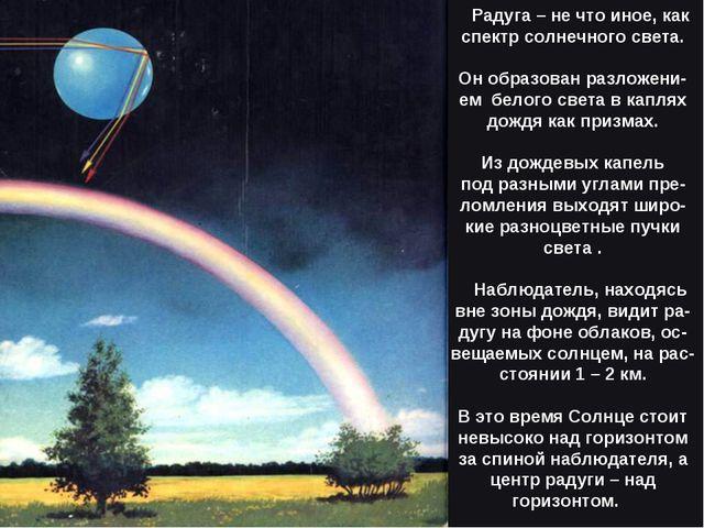 Радуга – не что иное, как спектр солнечного света. Он образован разложени-ем...