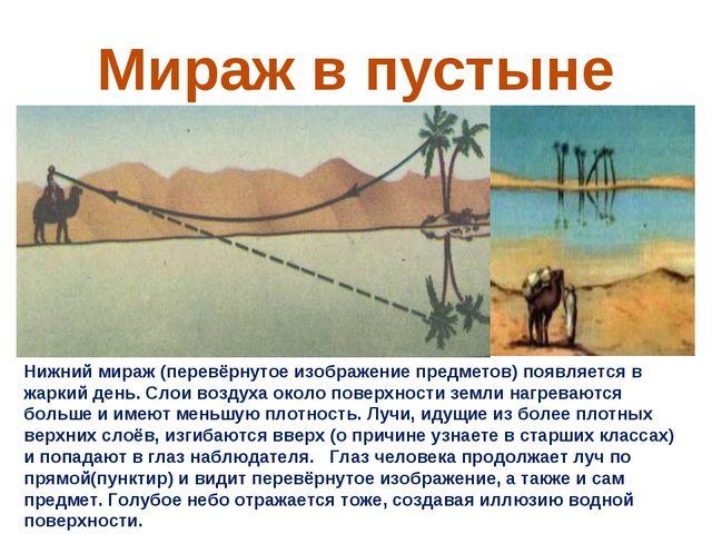 Мираж в пустыне Нижний мираж (перевёрнутое изображение предметов) появляется...