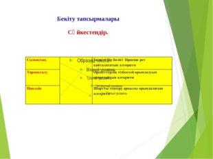 Бекіту тапсырмалары Сәйкестендір.