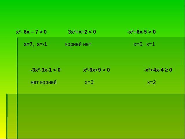 х²- 6х – 7 > 0 3х²+х+2 < 0 -х²+6х-5 > 0 х=7, х=-1 корней нет х=5, х=1 -3х²-3...