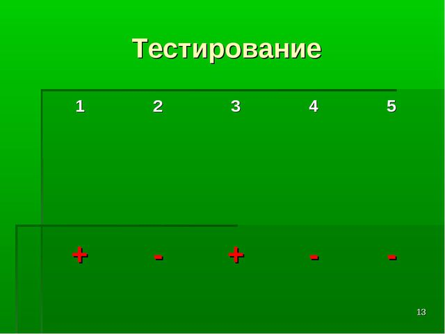 * Тестирование 12345 + - + - -