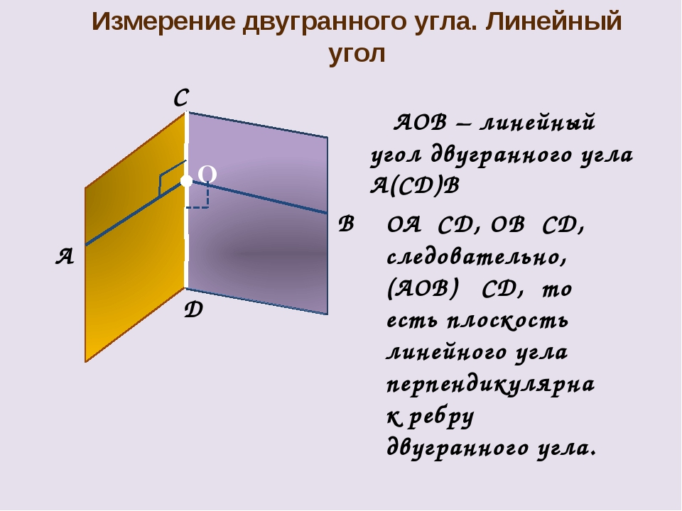 Измерение двугранного угла. Линейный угол O B OA⏊CD, OB⏊CD, следовательно, (A...
