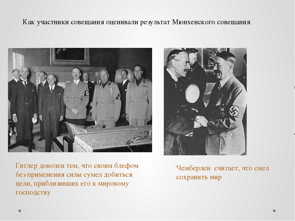 Как участники совещания оценивали результат Мюнхенского совещания Гитлер дово...