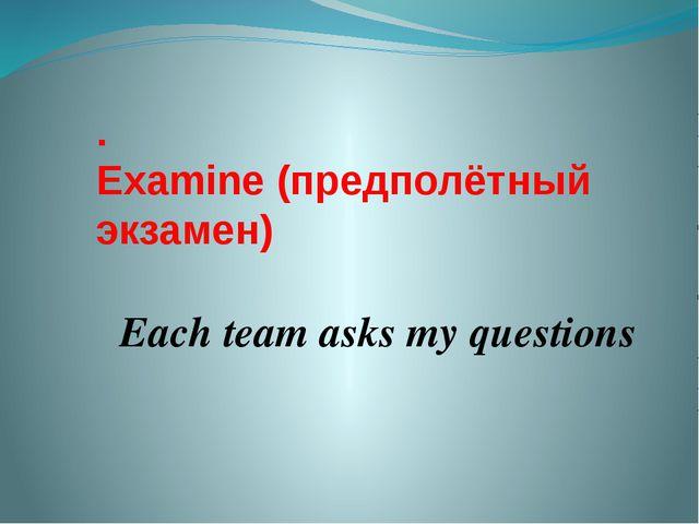 . Examine (предполётный экзамен) Each team asks my questions