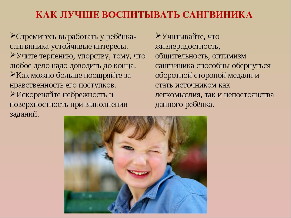 КАК ЛУЧШЕ ВОСПИТЫВАТЬ САНГВИНИКА Стремитесь выработать у ребёнка-сангвиника у...
