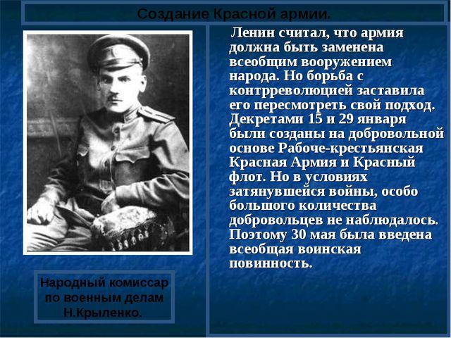 Ленин считал, что армия должна быть заменена всеобщим вооружением народа. Но...