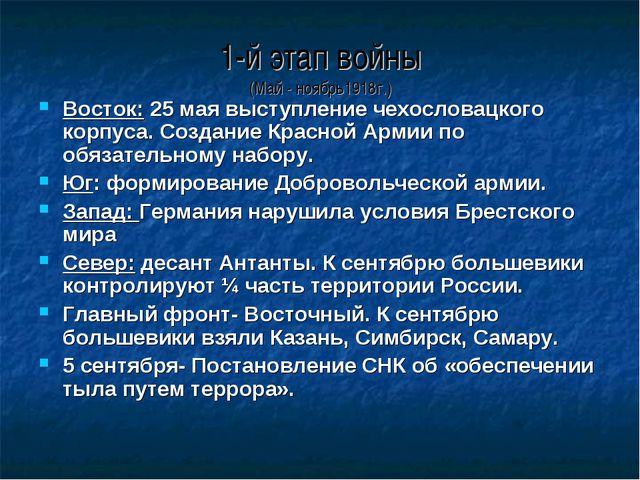 1-й этап войны (Май - ноябрь1918г.) Восток: 25 мая выступление чехословацкого...