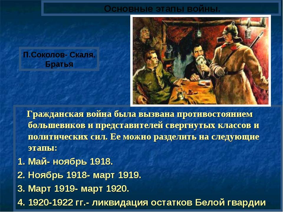 Гражданская война была вызвана противостоянием большевиков и представителей...