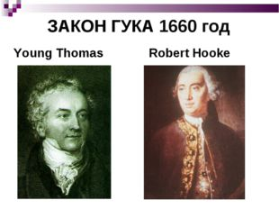ЗАКОН ГУКА 1660 год Young Thomas Robert Hooke