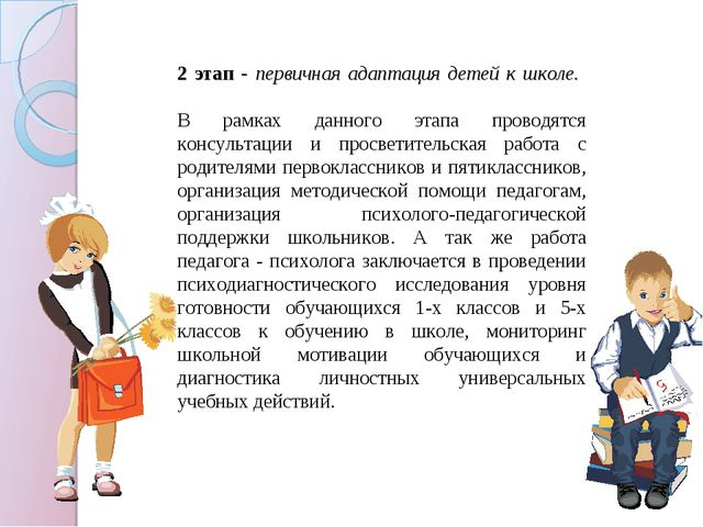 2 этап - первичная адаптация детей к школе. В рамках данного этапа проводятся...