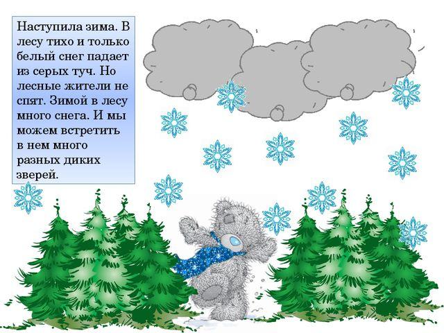 Наступила зима. В лесу тихо и только белый снег падает из серых туч. Но лесны...