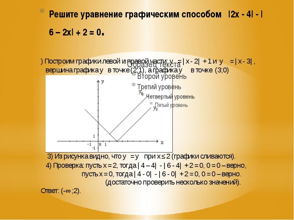 Решите уравнение графическим способом |2х - 4| - |6 – 2х| + 2 = 0.