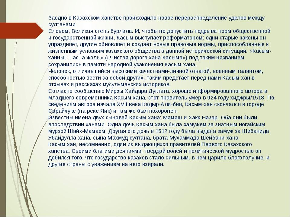 Заодно в Казахском ханстве происходило новое перераспределение уделов между с...
