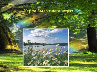 Стихотворение В. Лапина «Утро». Утром было много чудес: В.О..
