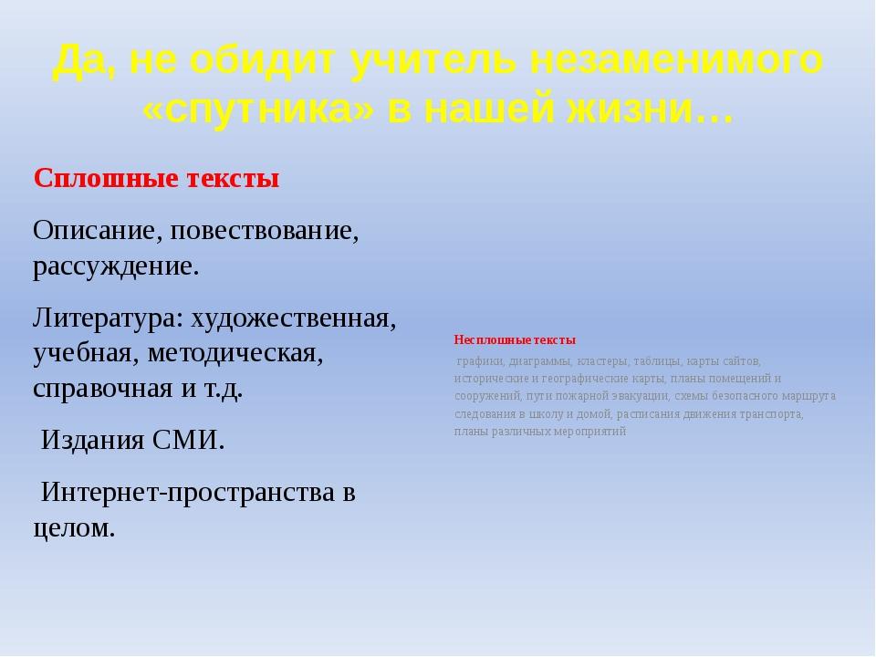 Да, не обидит учитель незаменимого «спутника» в нашей жизни… Сплошные тексты...