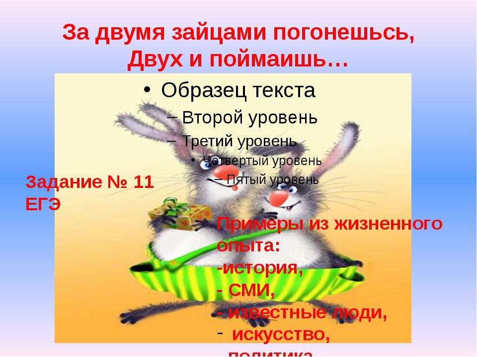 За двумя зайцами погонешьсь, Двух и поймаишь… Задание № 11 ЕГЭ Примеры из жиз...