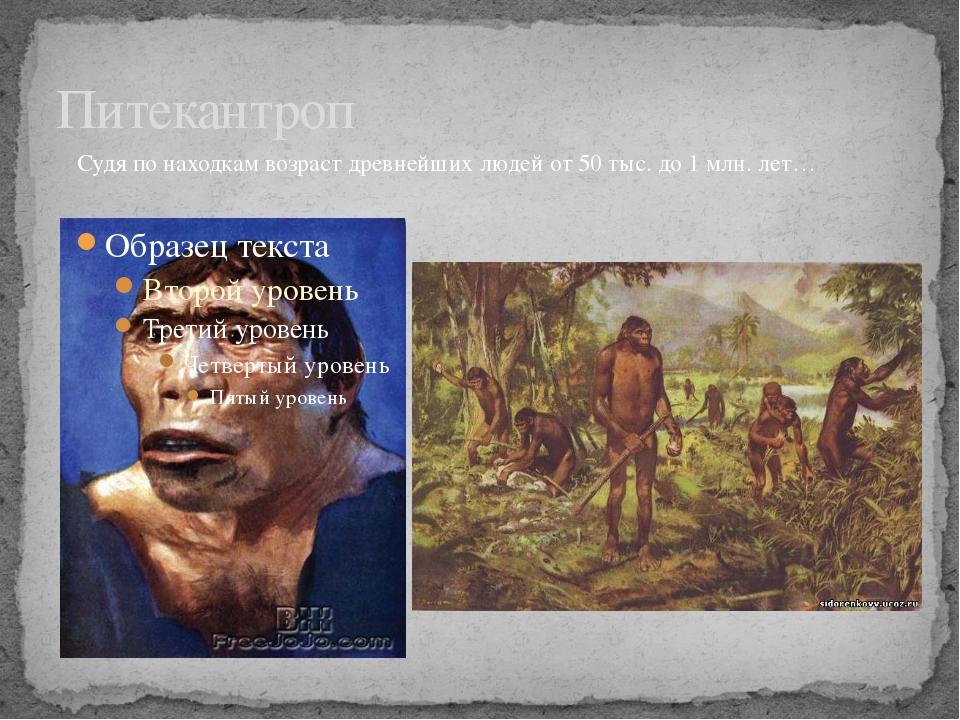 Питекантроп Судя по находкам возраст древнейших людей от 50 тыс. до 1 млн. лет…